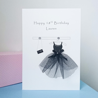 Age birthday card, little black party dress, 18th, 21st, 30th, 40th etc