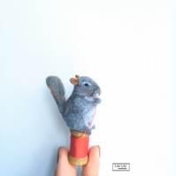 Needle felted miniature Grey Squirrel, sculpture, ornament