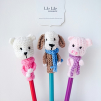 Set of 3 animal pencil toppers, Handmade
