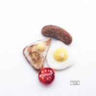 Fridge Magnets, Full English Breakfast, needle felted by Lily Lily Handmade
