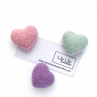 Fridge Magnets, Pastel hearts, needle felted by Lily Lily Handmade