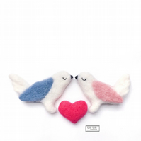 Love birds and heart set, needle felted by Lily Lily Handmade