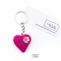 Embroidered needle felted wool heart keyring, bag charm by Lily Lily Handmade