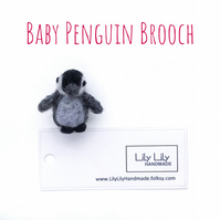 Brooch, baby penguin, needle felted by Lily Lily Handmade