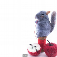 Miniature Grey Squirrel ornament needle felted by Lily Lily Handmade