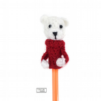 Polar bear pencil topper, Pablo, Handmade by Lily Lily Handmade