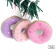 Set of 3 hanging iced doughnut Christmas decorations