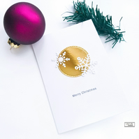 Christmas Card, Gold and white snowflakes design, handmade by Lily Lily Handmade