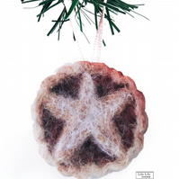 Needle felted Mince Pie Hanging decoration by Lily Lily Handmade