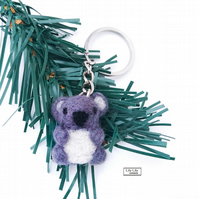 Cute needle felted koala keyring, bag charm by Lily Lily Handmade