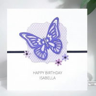 Personalised Butterfly design Birthday Card by Lily Lily Handmade