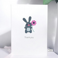 Thank you card, Rabbit with flower design, Handmade by Lily Lily Handmade