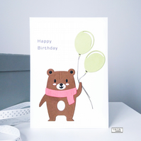 Birthday card, Brown bear with balloons design, Handmade by Lily Lily Handmade