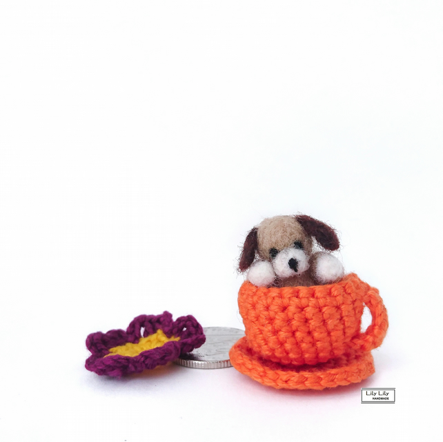 Bertie, miniature dog in a tea cup and saucer, handmade by Lily Lily Handmade