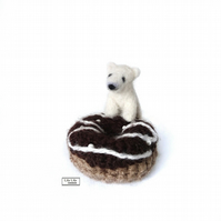 Baby polar bear with doughnut, collectible, handmade by Lily Lily Handmade