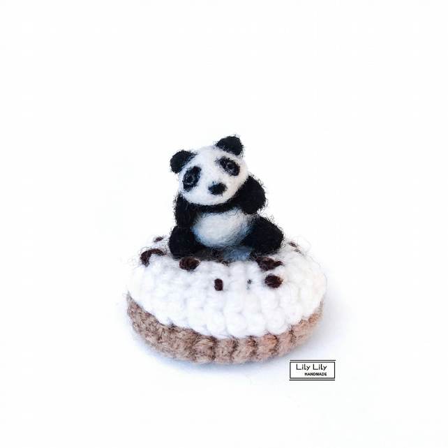 Alfie, Baby Panda with doughnut, collectable, handmade by Lily Lily Handmade