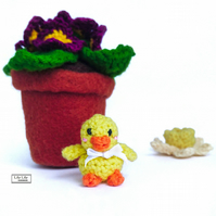 Miniature Easter Chick, amigurumi crocheted by Lily Lily Handmade