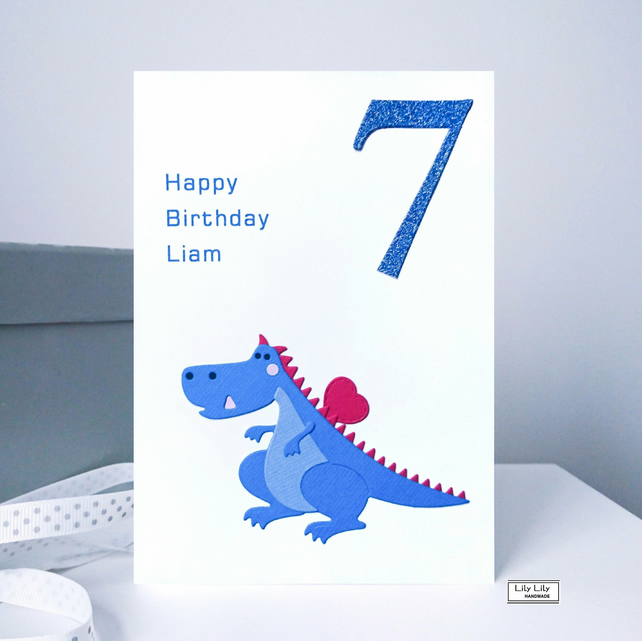 Birthday card, Dinosaur design, Handmade by Lily Lily Handmade