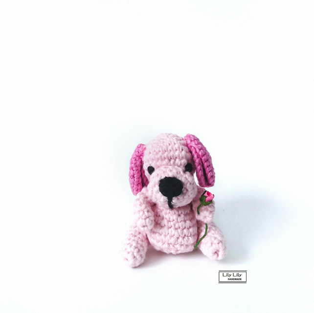 Arrabella, Miniature pink dog crocheted by Lily Lily Handmade