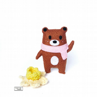 Darcey, Brown Bear felt mascot by Lily Lily Handmade
