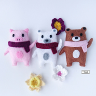 Felt animal plush, mascot doll, Handmade by Lily Lily Handmade