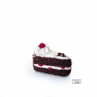 Miniature Black Forest Gateau cake slice, needle felted by Lily Lily Handmade