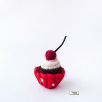 Chocolate cherry cupcake miniature, needle felted by Lily Lily Handmade
