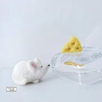 Theodore, White Mouse, needle felted by Lily Lily Handmade (postage included)