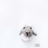 Sheep brooch, crocheted by Lily Lily Handmade