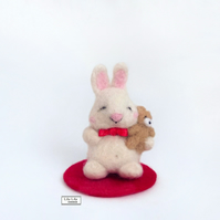 Sleepy rabbit with teddy miniature, needle felted by Lily Lily Handmade