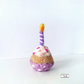 Miniature birthday cupcake with candle, needle felted by Lily Lily Handmade