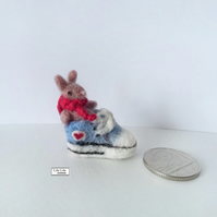 Rupert, miniature rabbit in a trainer shoe, needle felted by Lily Lily Handmade
