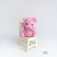 Sad piggy miniature, needle felted by Lily Lily Handmade
