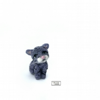 Elouise, Small Grey Cat, needle felted by Lily Lily Handmade