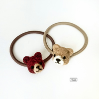 Teddy bear hair bobbles, hair elastics, needle felted by Lily Lily Handmade