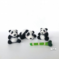 Mama Panda and 2 baby pandas, needle felted by Lily Lily Handmade