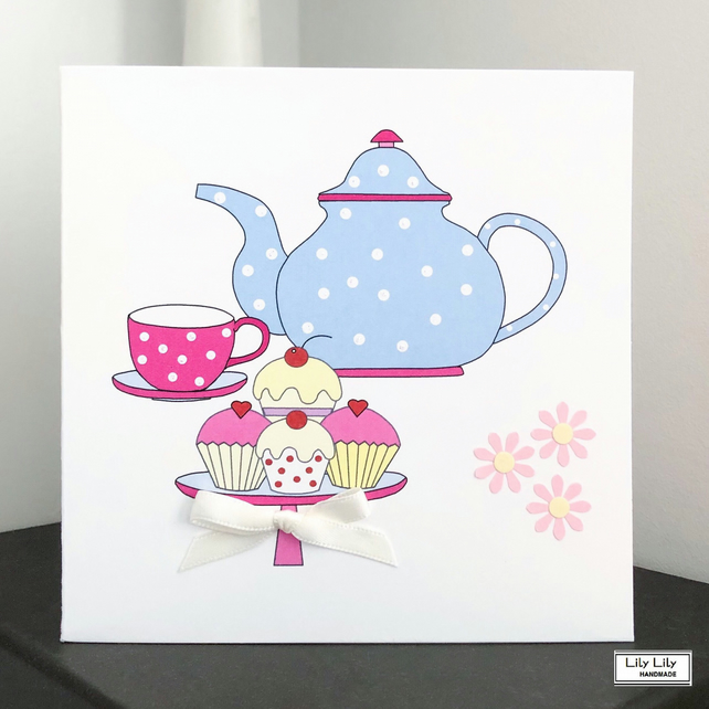 Handmade Blank Greetings Card, Afternoon Tea