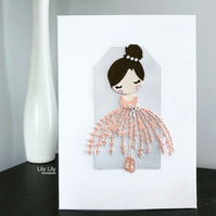 Sweet Ballerina All Occasions Greeting Card by Lily Lily Handmade