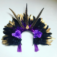 Black and Gold Feather Head Dress Hair band Headpiece Festival