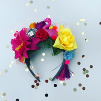 Tropical Flamingo Disco Ball Flower Crown Festival Fancy Dress