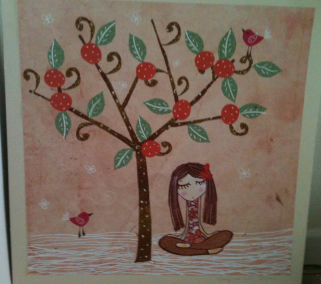Girl sat under an Orange Tree