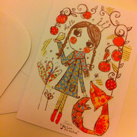 Girl & fox card