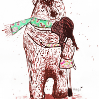 "Bear Hugs ""Cwtch"" A4 Print"