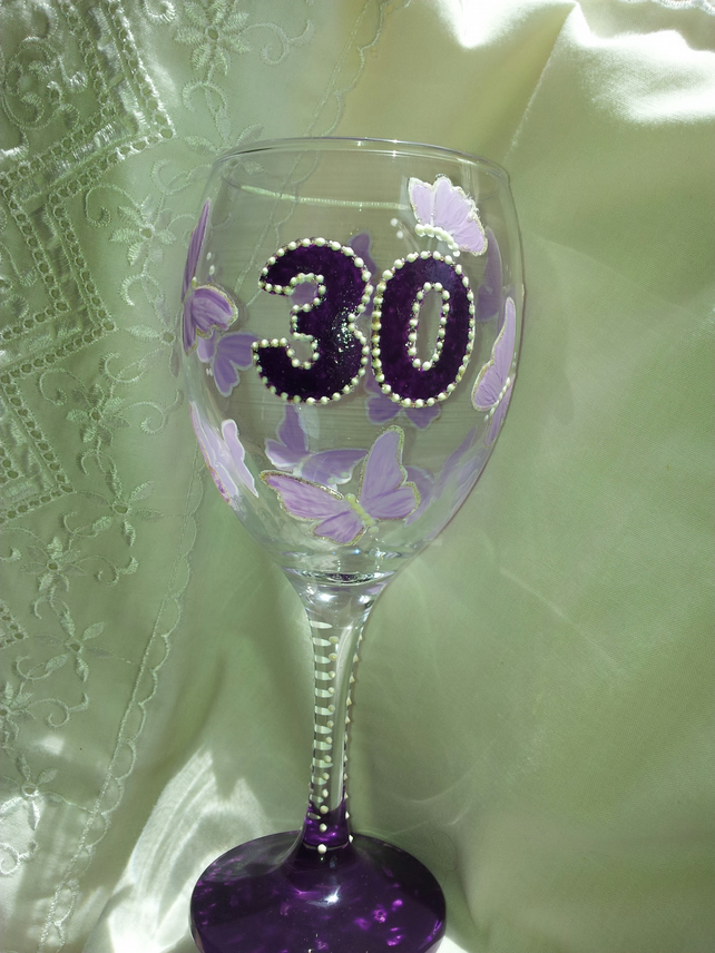 30th birthday hand painted wine glass folksy