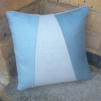 SALE Blues hand beaded cushion maid-of-fabric.