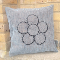 Square cushion maid-of - fabric and hand beaded. Free uk delivery.