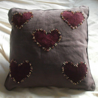 Brown Heart Cushion maid-of-fabric.