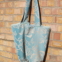 Green and Sand Tote Bag, shopping bag. Free uk delivery.