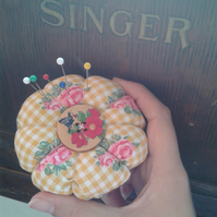 Pin cushion flower maid-of-fabric