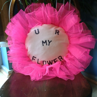 'U R MY FLOWER' cushion maid-of-fabric.